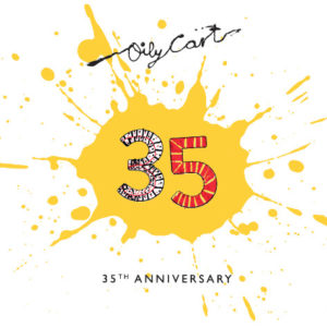 The number 35 is coloured in felt tip pen, in the middle of a big splat of yellow paint against a white background. Above is the Oily Cart logo, below is the text '35th Anniversary'
