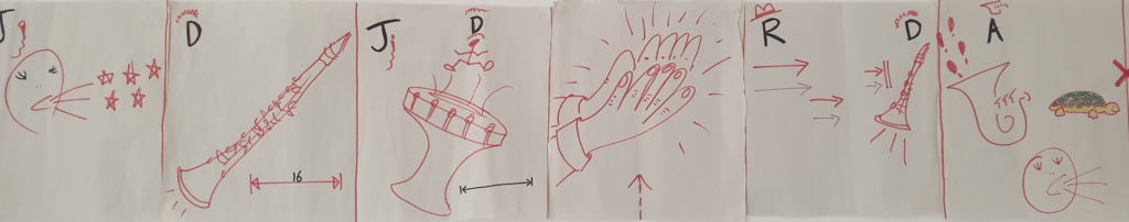 Panel of images, drawn in red pen. The first image is stars at the end of lines coming out of a person's mouth. The second is a clarinet. The third is a stick figure jumping on top of a drum. The fourth is hands clapping. The fifth is arrows shooting towards a clarinet. The sixth is footsteps coming out of a sousphone, lines indicating noise coming from a person's mouth, and a tortoise.