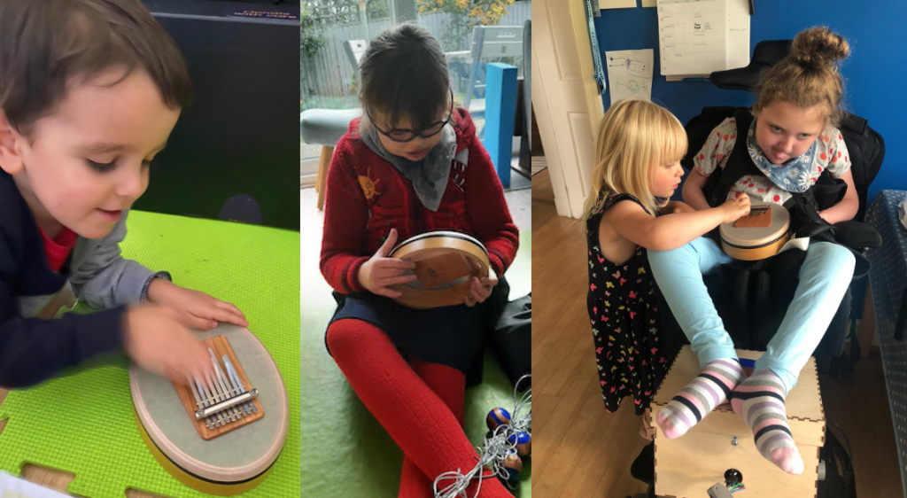Grid of three photos. On the left is a young boy leaning on a bright green mat playing the kalimba. In the middle is a girl sitting on a green carpet playing the kalimba. On the right, two sisters play the kalimba together.
