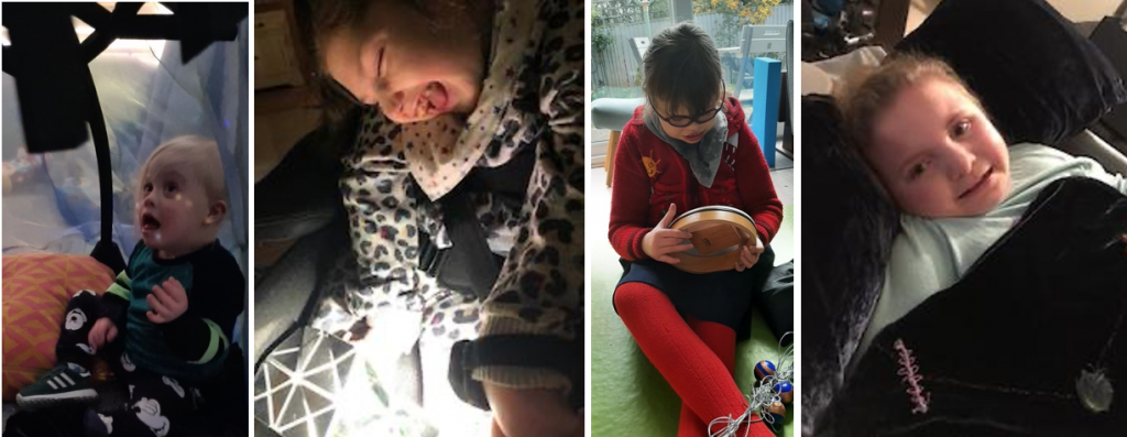 Panel of four family photos. First photo: Young blond child sat on an orange cushion underneath a tent with blue-green gauze fabric. They are looking up at star projections which are reflected on their face. Second photo: Young person holding a wrist torch towards a shiny mirrored sheet in their lap. Third photo: Young person sitting on a green carpet playing the kalimba. Fourth  photo: Young person lying underneath a blue velvet blanket with embroidered patterns on it, with their head resting on a blue velvet double-length pillow.